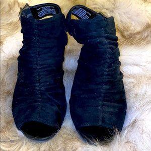 Vera Wang suede peek-a-boo toe booties